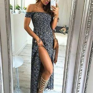 shop_terracotta  Dresses & Skirts - Off Shoulder Floral Boho Dress - Blue