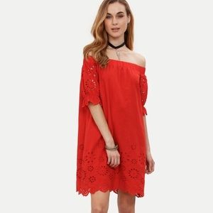 ✨Red Off The Shoulder Half Sleeve Hollow Dress✨