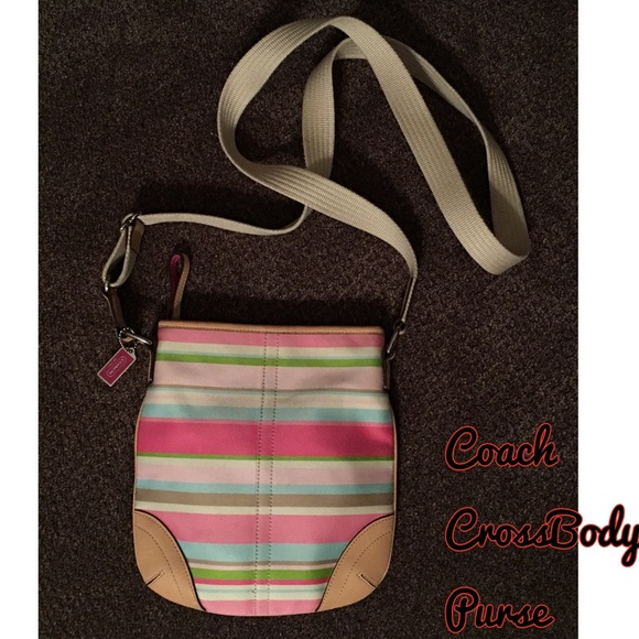 Coach Bags - Coach Stripe CrossBody Purse Pink Tan Handbag