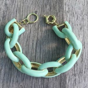 Mint Enamel Link Bracelet. NWT.