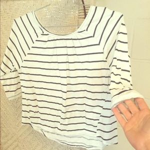 Zara size S navy blue and white striped cttn shirt