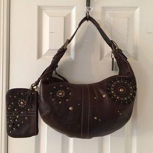 Coach Handbags - 🛍Rare Coach Brown Leather Studded Hobo &Wristlet