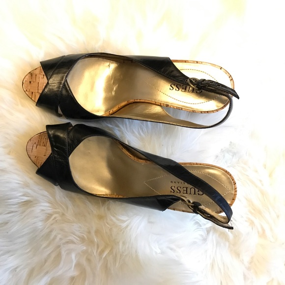 Guess by Marciano Shoes - Guess Black Cork Peep Toe Slingback Heel