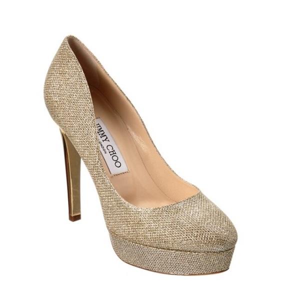 43% off Jimmy Choo Shoes - Jimmy Choo Gold Tan Nude Glitter Heels ...
