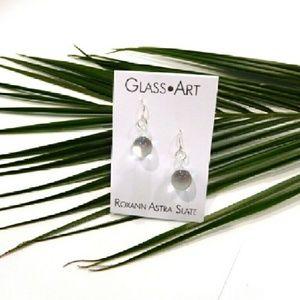 Roxann Slate Jewelry - Hand-blown  Clear  Glass Earrings