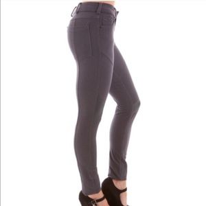 Pants - GREY FAUX LEATHER KNEE PATCHES SKINNY PANTS
