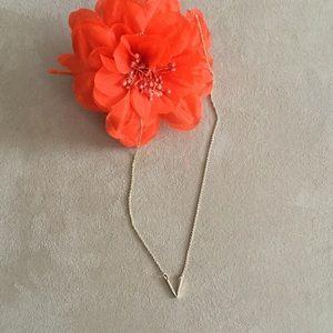 Pavé crystal V Pendant Necklace