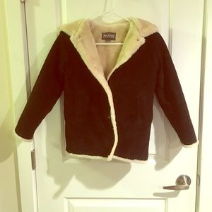 Wilsons leather hooded suede fur lined jacket