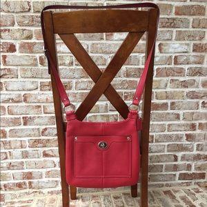 ❤ COACH Red Pebbled Leather Crossbody Shoulder Bag
