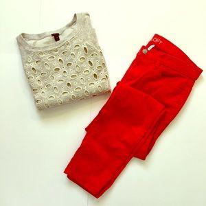 Loft // Red Modern Skinny Jeans