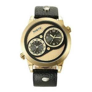 Luxury Dual Time Display Men's Sport leather watch