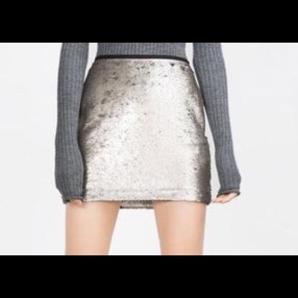 29ce5c5f8 Zara sequined silver mini skirt. NWOT. M_584771a36d64bc386b03cbde