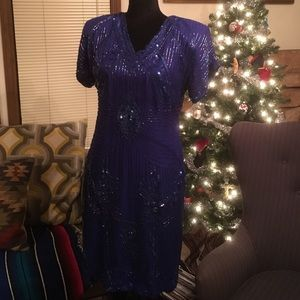 Vintage Royal Blue Sequin Party Dress