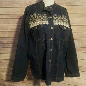 casual elegance Jackets & Blazers - Lace trim jean jacket