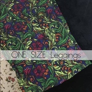 LulaRoe NWT OS green floral leggings