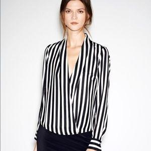 Zara Tops - Zara striped faux wrap twist top blouse