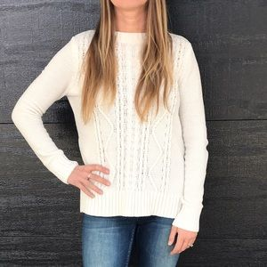 White cable sweater
