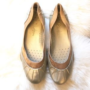 Cole Haan Shoes - Cole Haan Nike Air Gold Leather Satin Flat Wedge