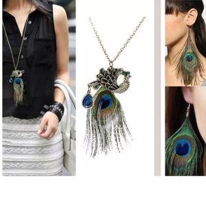 ✅🎉Beautiful Set: peacock necklace+Earrings G1