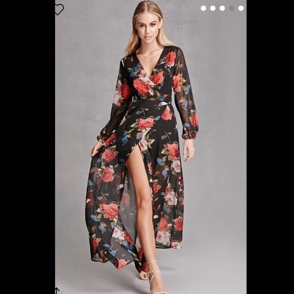1bc0fda305 Sheer Floral Wrap Maxi Dress. M 58461c08c28456c90d05164c