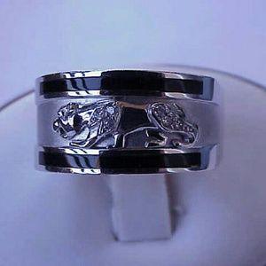 Other - Men 14k White Gold Leopard Cat Enamel Diamond Ring