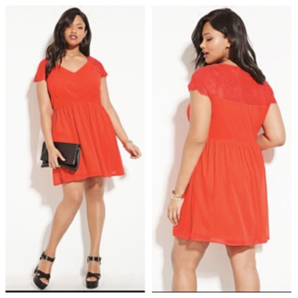 7a04d5db41 Forever 21 + plus size lace skater NWT 1X Orange