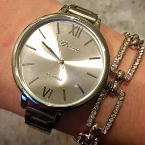 Silver Large Face Roman Numeral Minimalist  Watch
