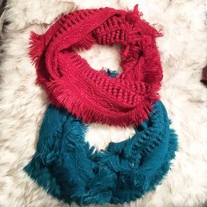 Accessories - 2 Knitted Tassel Scarves