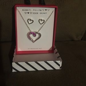 Heart shaped necklace and earrings