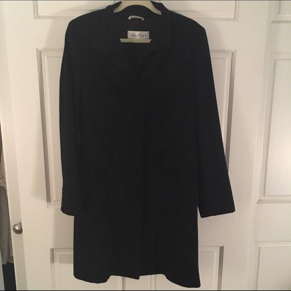 MaxMara - MaxMara Lana Wool Long Black Button Up Coat from Emily's ...