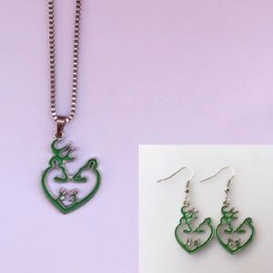 Camo Jewelry - Doe & deer necklace & earring set, multiple colors