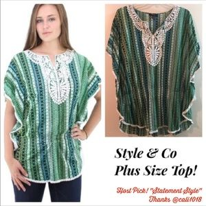 Style & Co Tops - ⭐️HP⭐️Style & Co Women's Crochet Tribal Batwing Tp