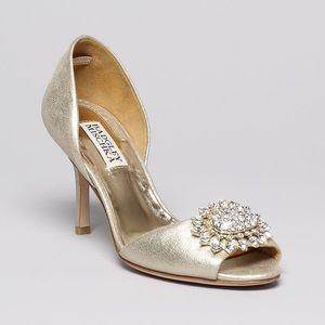 "Badgley Mischka Golden ""Lacie"" Peep Toe Heels"