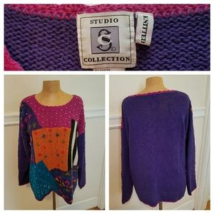 Vintage hand knitted statement sweater!