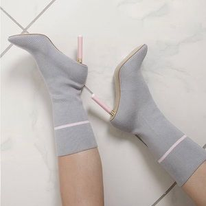 EGO Grey & Pink Sock Booties 38 (US 8)