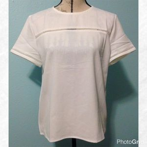 Tops - White Short Sleeve Crochet Insert Top