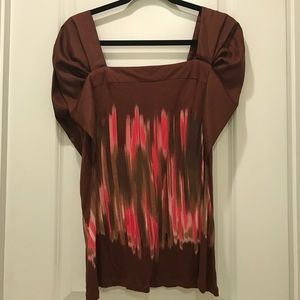 Anthropologie Brown and Pink Flowy Sleeve Top
