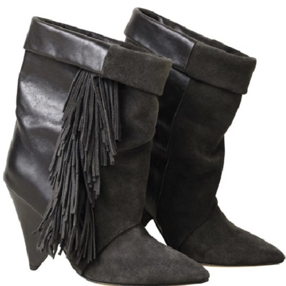 26917a8a0a6 Isabel Marant Shoes - Isabel Marant H&M black suede leather fringe boots