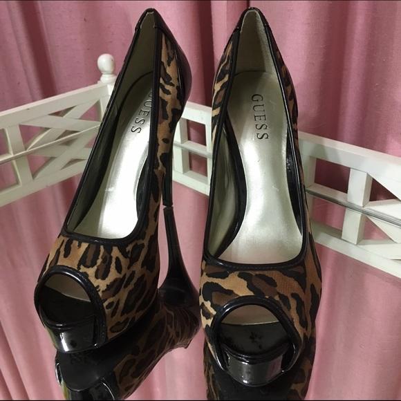 10af1c68dcb0 Guess Shoes | Leopard Print Peep Toe Pumps | Poshmark
