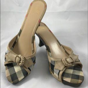 Burberry Nova Check Spool Heel Sandal SZ 41 (9.5)