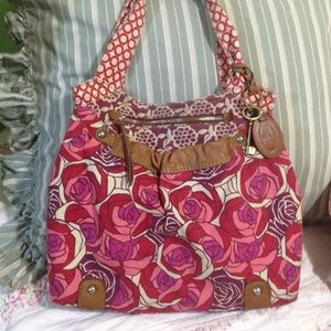 Fossil canvas & leather tote