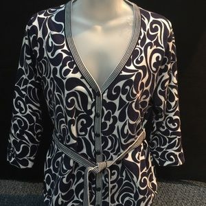 Appleseed's Sweaters - Blue/white print career/casual cardigan Size S