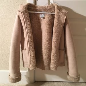 🎉 Cream Cozy Sherpa Lined hooded jacket, XS