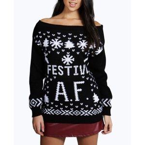 Festive A.F. AF Ugly Christmas Sweater NWT M/L
