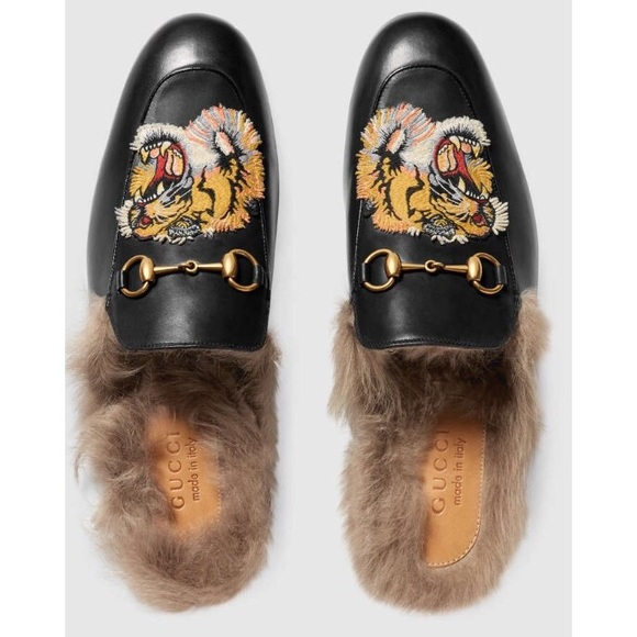 873d19f20cf8 Gucci Women s Princetown Lamb Fur Slippers