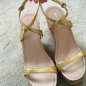 Miu Miu Shoes - Miu Miu gold strap with cork wedge sandals