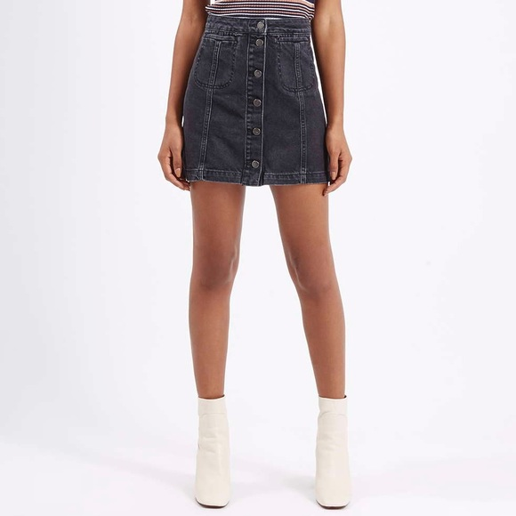 Topshop - Topshop Black Denim Button Front Skirt from Joanna's ...