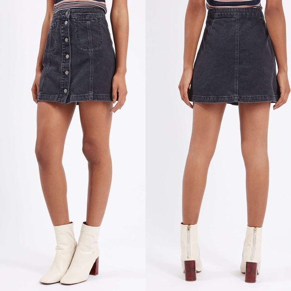 Topshop - Topshop Black Denim Button Front Skirt from Joanna's ...