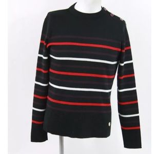 Armor Lux Other - Mockneck Sweater Purple Red Stripe Button Shoulder