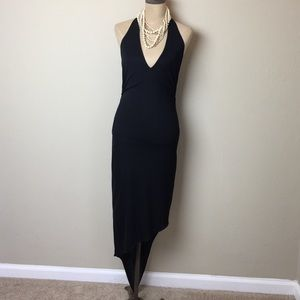 Fabulous  Bebe halter dress w/ asymmetric hem